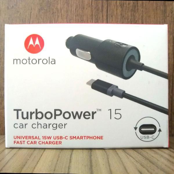 carregador veicular motorola turbo power 15w original usb