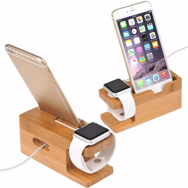 suporte estiloso de madeira para smarthone e smartwatch