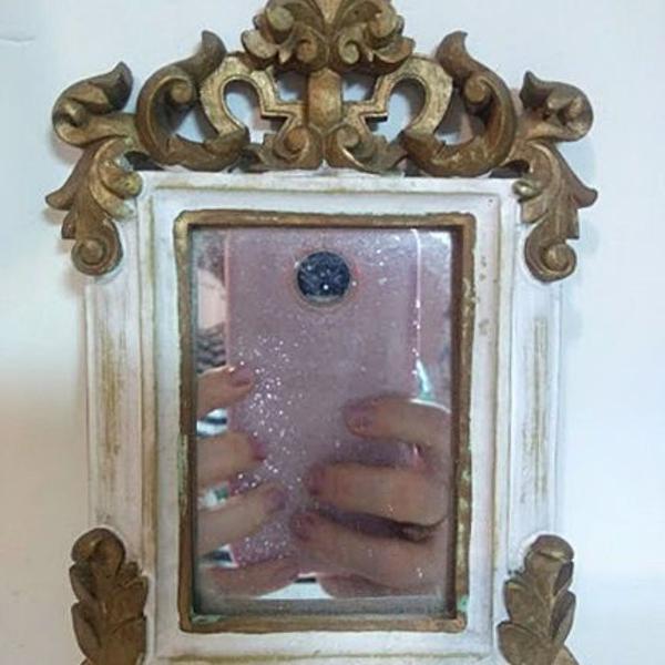 antigo espelho pendant no estilo barroco em madeira nobre