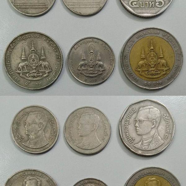 coleção de moedas antigas da tailandia - bath