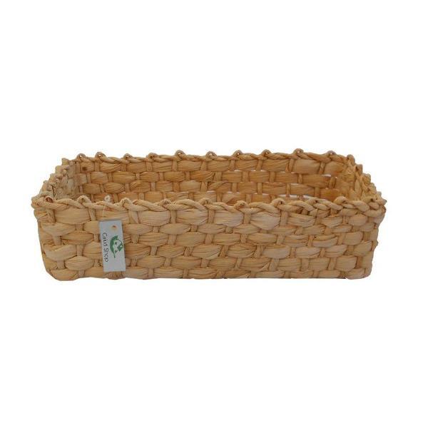 kit 03 cestos de palha de milho natural trama fechada