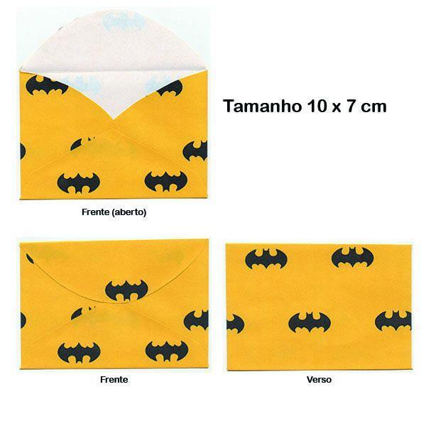 kit 10 envelopes 10x7 cm personalizados batman
