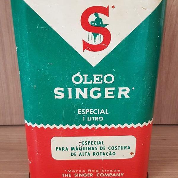 lata antiga de óleo singer especial 1lt (anos 60)