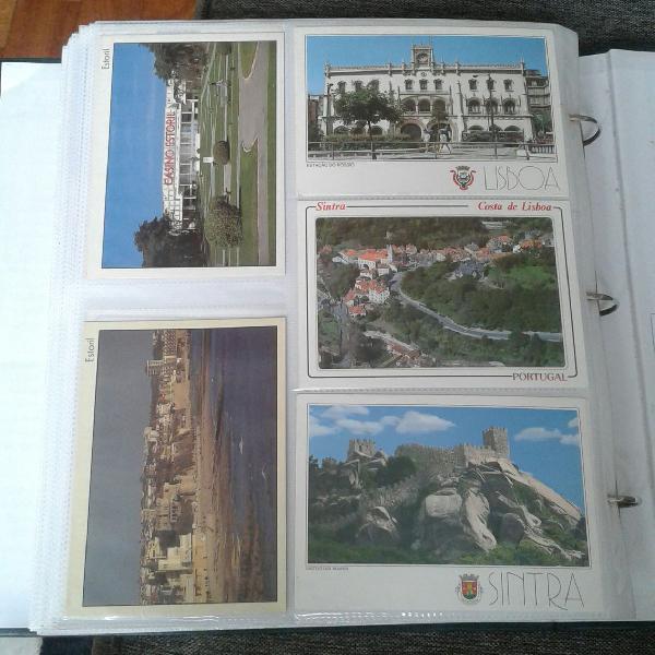 lbum com coleção de 500 postais do Brasil e do mundo