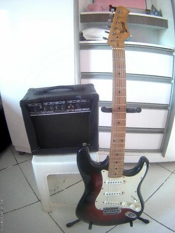 Kit iniciante guitarra + caixa + cabo