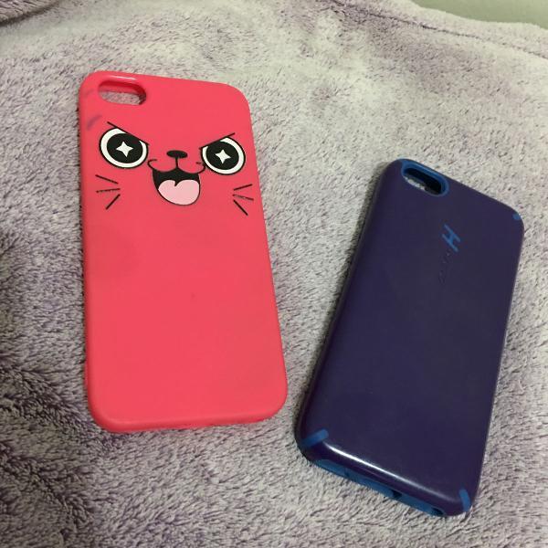 kit capinhas,rosa iphone 5/5s e azul iphone 5c