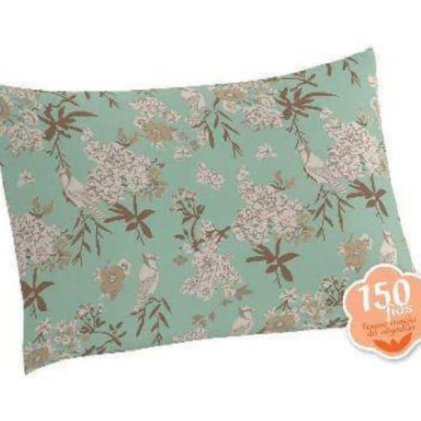 kit com 02 pares de fronhas florais em algodão