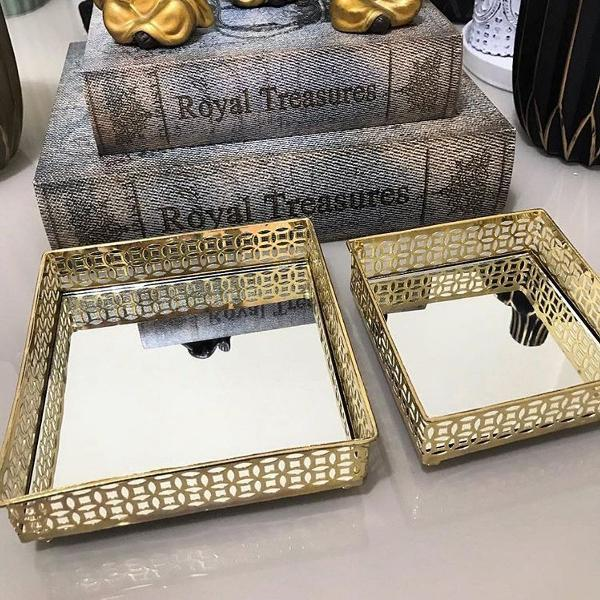 kit bandejas douradas