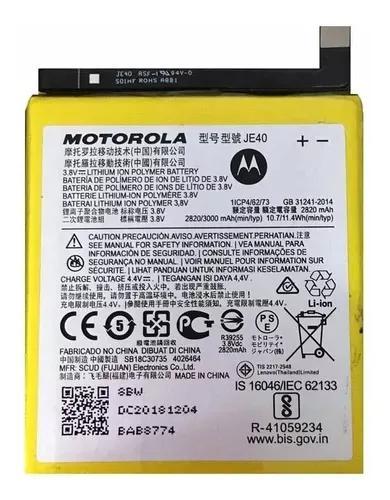 Bateria Moto One Moto G7 Play Je40 Original Nova Com Garanti