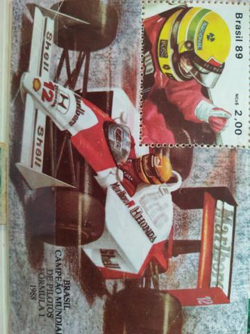 Bloco filatelico selo Ayrton Senna