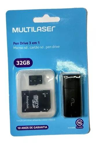 Cartão Multlaser 32gb + Adapt Sd + Pend Classe 10 Full Hd