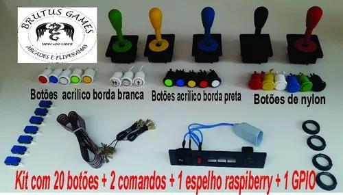 Kit 20 Botoes 2 Comandos + 2 Espelho Raspibery +1 Gpio