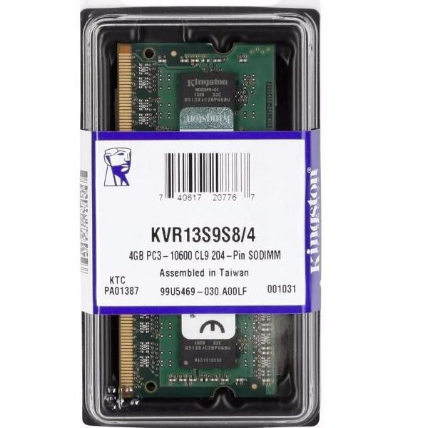 memória notebook 4gb ddr3 - kvr13s9s8/4 - 1333mhz -