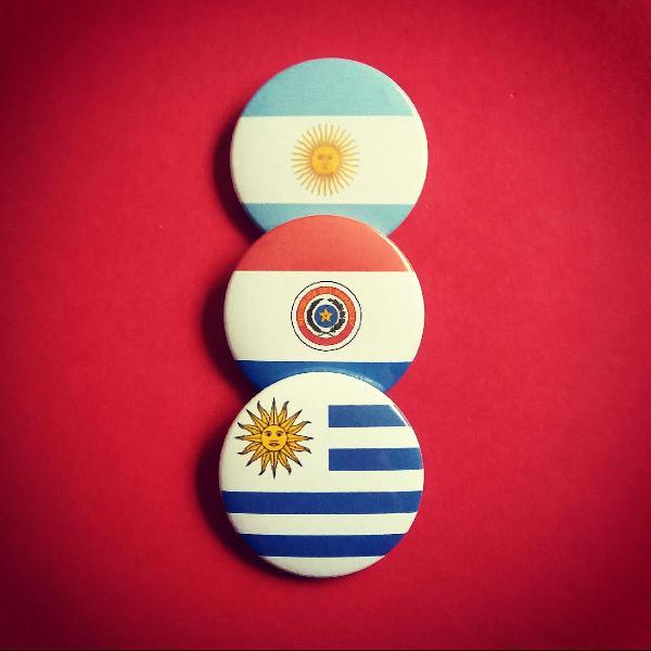 kit (3) bottons: Argentina, Paraguai e Uruguai