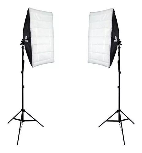Kit De Luz Softbox Duplo Para Estúdio Fotográfico E Video