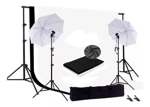 Kit Estudio Profissional Foto + Tripé + 2 Telas + Lâmpada