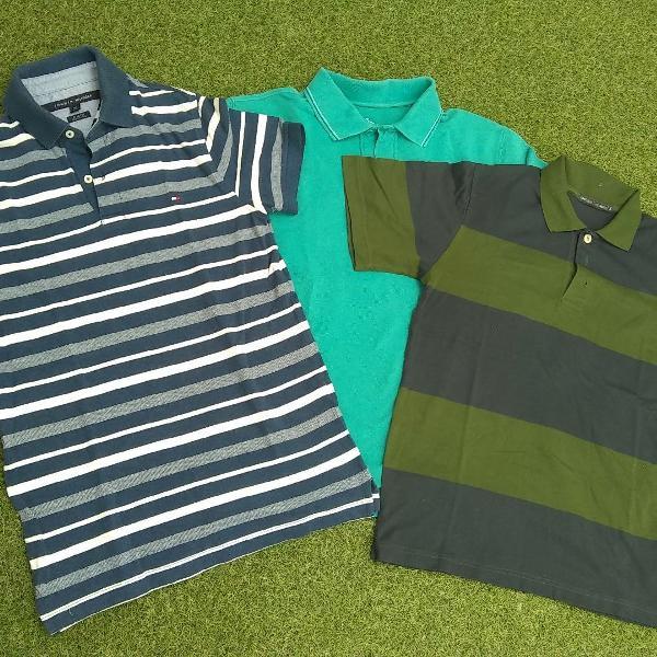 Kit 03 Camisetas pólos masculina