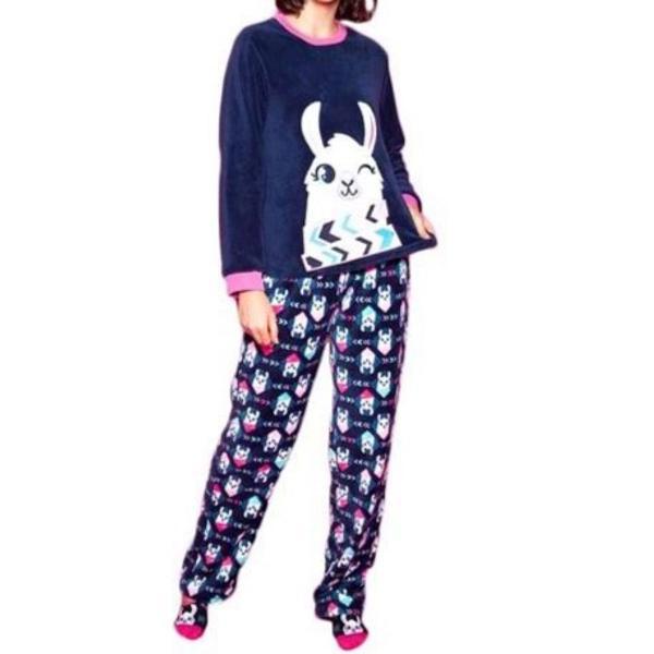 pijama soft lhama puket - azul novo tam p