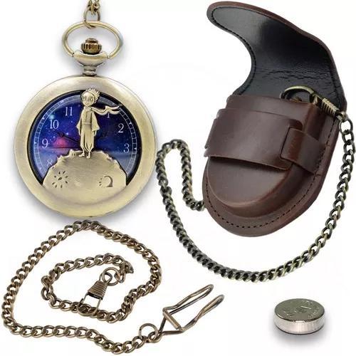 Kit Relógio De Bolso Pequeno Príncipe + Corrente+ Capa