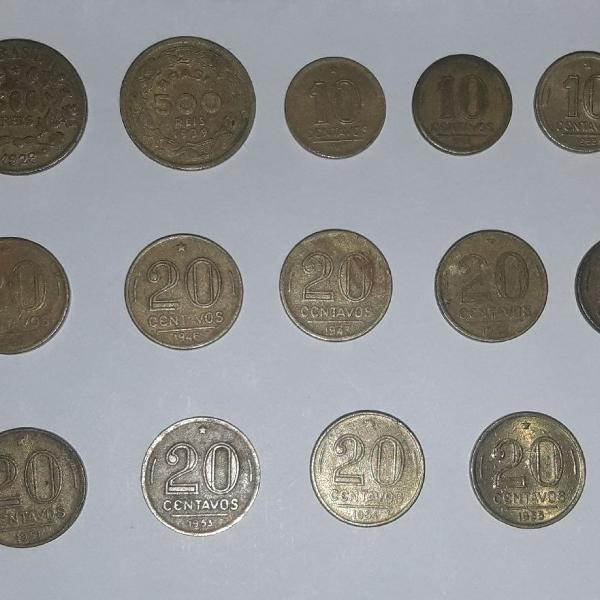 Lote de 20 moedas antigas de reis e cruzeiro em bronze