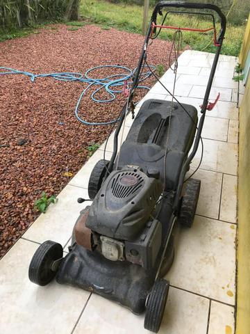 Máquina de cortar grama com recolhedor