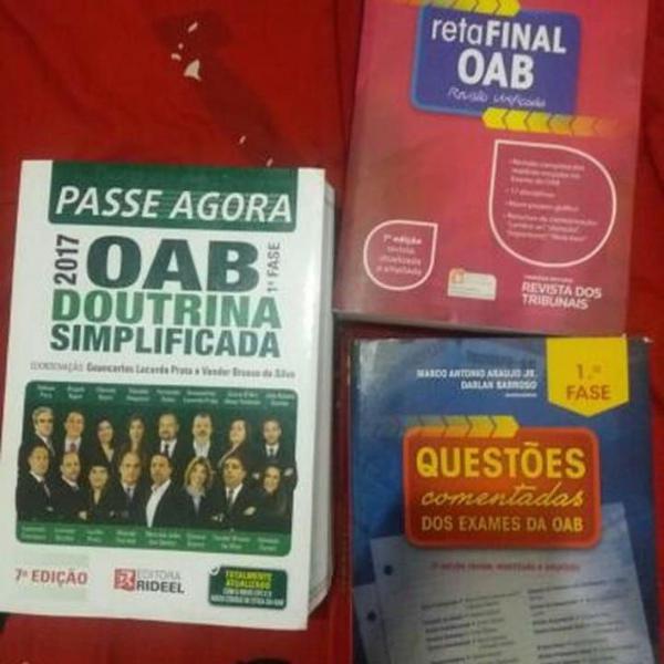 combo com 3 livros preparatórios para 1ª fase oab