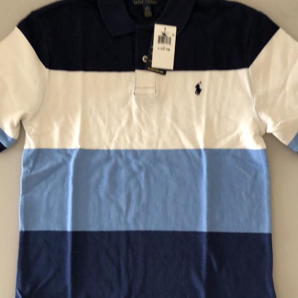 camisa polo listrada masculina - original