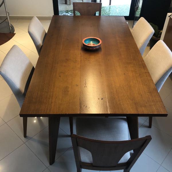 mesa c/ 6 lugares peroba rosa - madeira de demolição