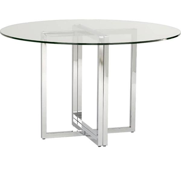 mesa com pé de aço e tampo de vidro
