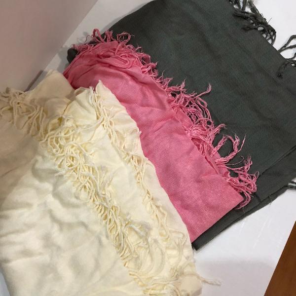 trio de lenços! maravilhosos pra você passar o inverno