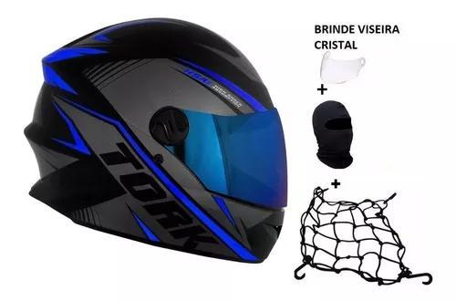 Capacete Moto Tork R8 + Viseira Azul + Cristal + 2 Brinde