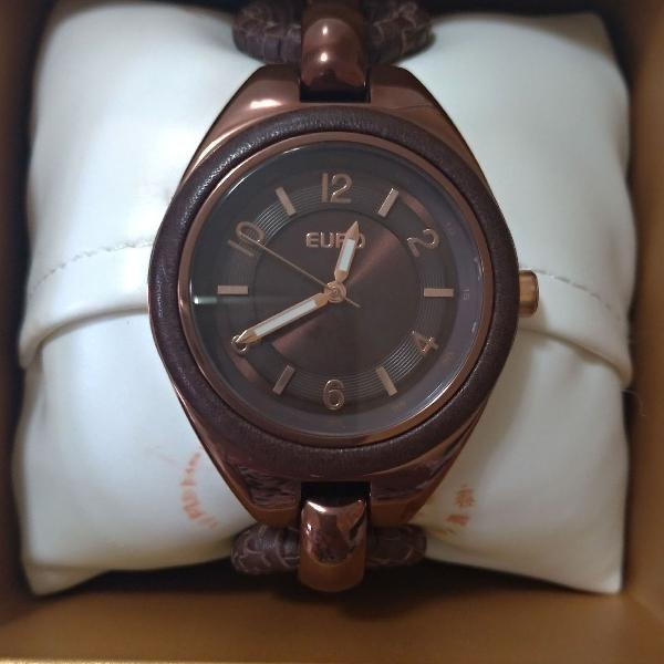 Relógio de pulso com pulseira de couro EURO