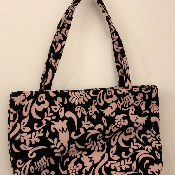 bolsa em tecido nova preta e rosa com zíper