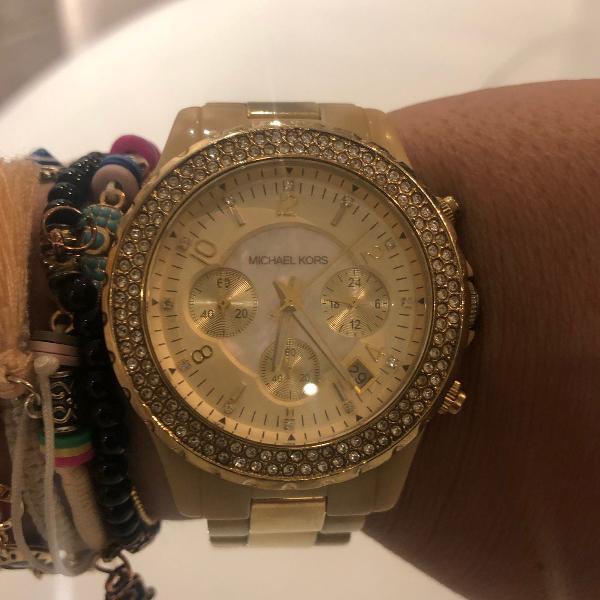 relógio michael kors original dourado com cristais mk 5417
