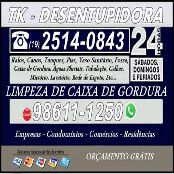 19) 2514-0843 Desentupidora no Jardim Independência em