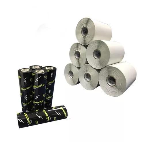 Kit 10 Rolos Etiqueta 34x23 Mm 3 Colunas + 5 Ribbons Cera