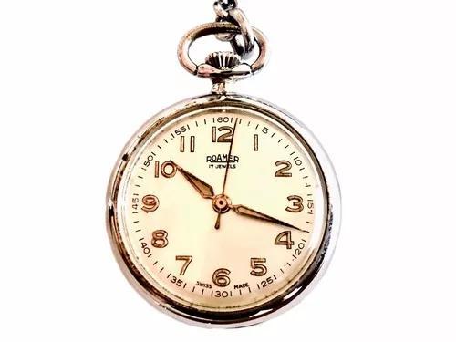 Antigo Relógio De Bolso Suíço Lapela Grife Roamer 17