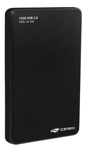Case Para Hd Externo Preto 2,5 Pol Usb 2.0 Ch-200bk C3 Tech