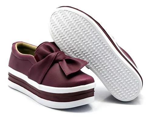Casual Sola Alta Flatform Slipon Dk Shoes Laço Marsala