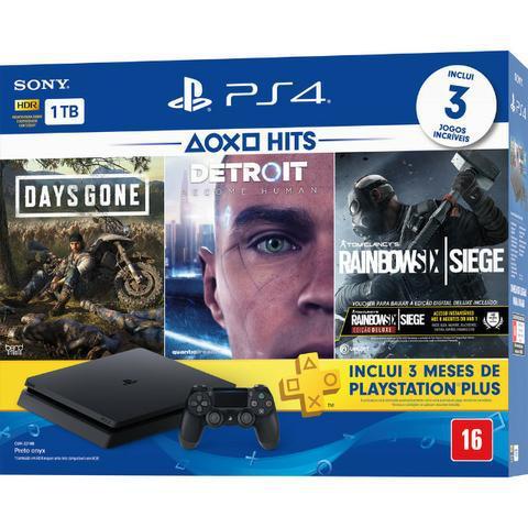 PS4 Slim 1Tb com 3 jogos, PSN, garantia, manete, cabos.