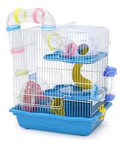 Gaiola Hamster Safari Grande Completa Azul Mega Promoção