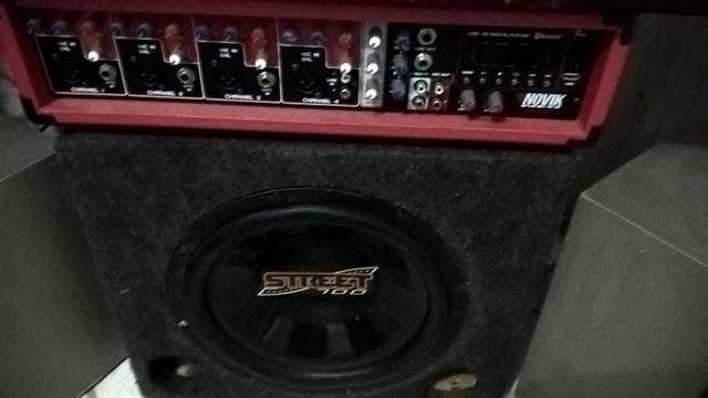 "Mesa de som amplificada + caixa sub 12"" 700w"