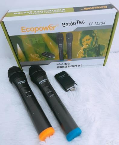 Microfone Profissional Sem Fio Duplo Uhf Ecopower EP M204