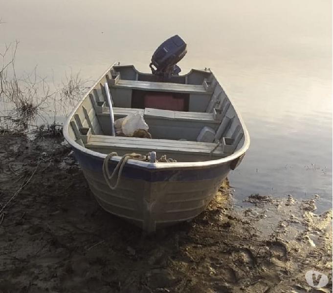 Conjunto barco de alumínio motor Yamaha e carretinha