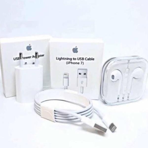 kit acessórios 3 em 1 - carregador + cabo de dados + fone