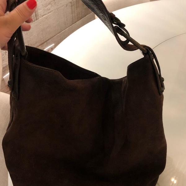 bolsa de couro marrom side walk