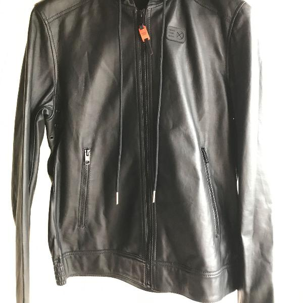 jaqueta couro diesel com capuz com etiquetas osklen armani