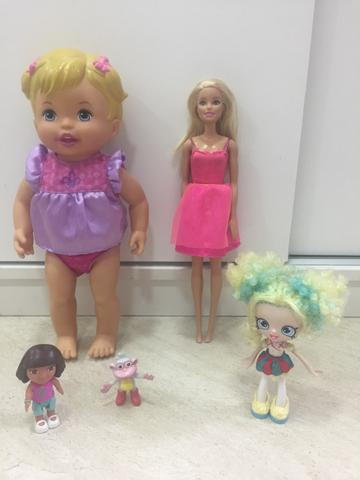 Lote de bonecas: 1 Little Mommy, 1 Barbie, 1 Shopkins e a