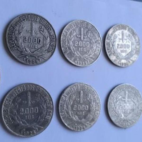moeda de prata - lote com 6 moedas de prata 2 mil réis 1924