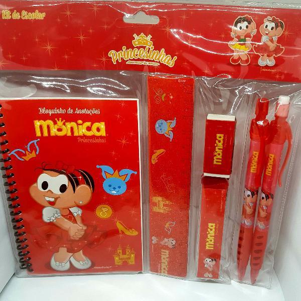 Kit Escolar Completo Princesinhas Turma Da Monica 6 Itens